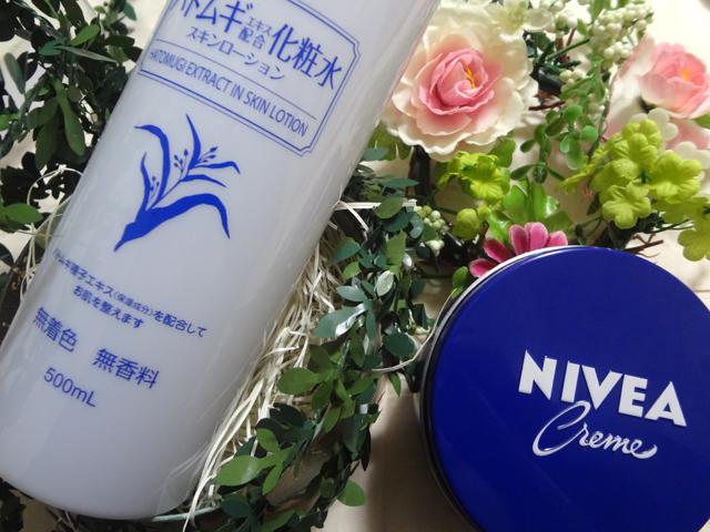 スキンケアに使用している化粧水とニベアの青缶
