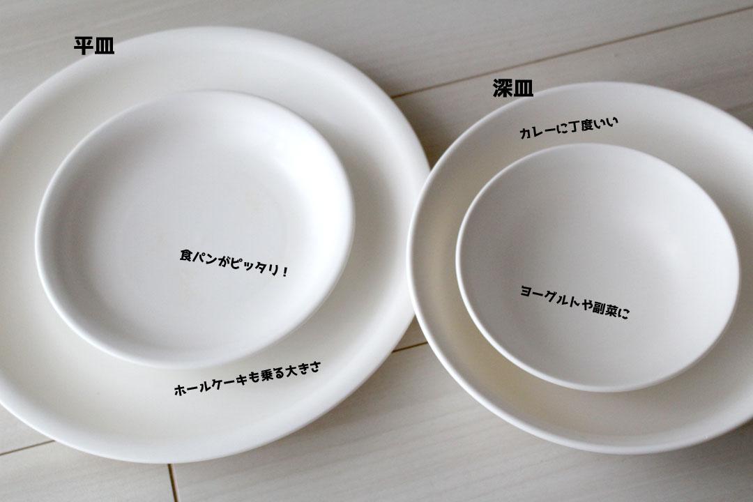 ダイソーの白いプラスチック食器。左、平皿(大・ホールケーキも乗る大きさ、小・食パンがピッタリ)。右、深皿(大・カレーに丁度いい、小・ヨーグルトや副菜に)。