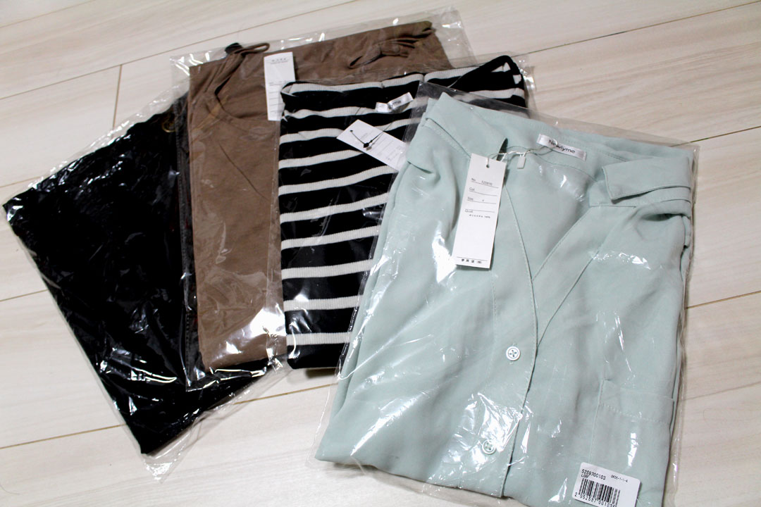 夢展望で購入した夏服です。半袖シャツ、キャミワンピ、リブ半袖トップス、タイトスカートの4着で6,000円でした。